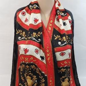 "Women's Scarf Red Black and Gold 13.25"" X 58.25"""